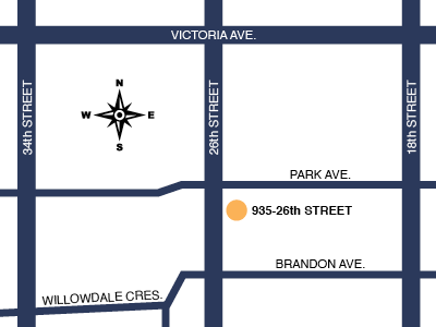 Wlock Counselling location map - 935-26th Street, Brandon, Manitoba